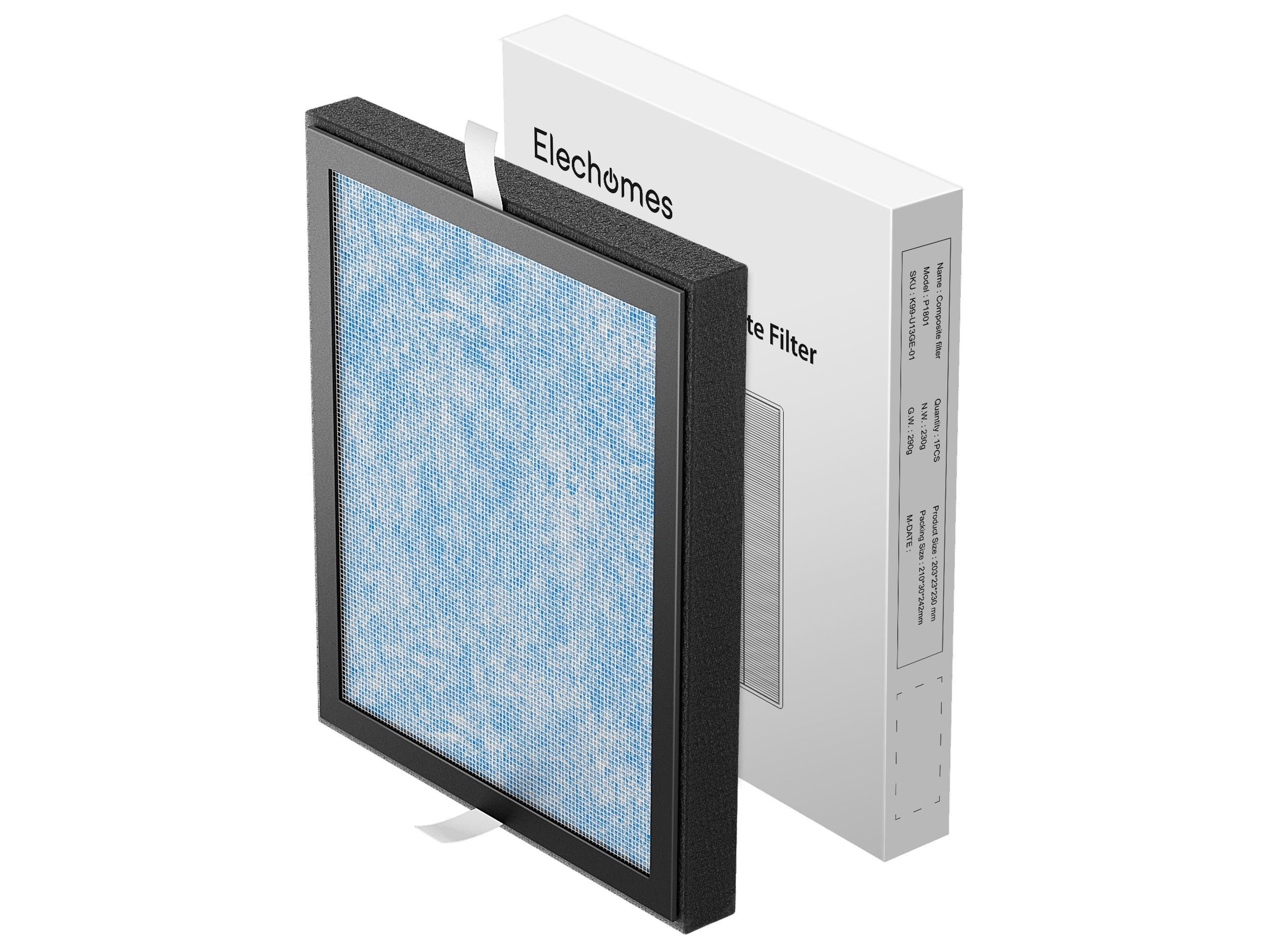 Air Purifier EPI081  Composite 3 Layer HEPA /& Activated Carbon Filter